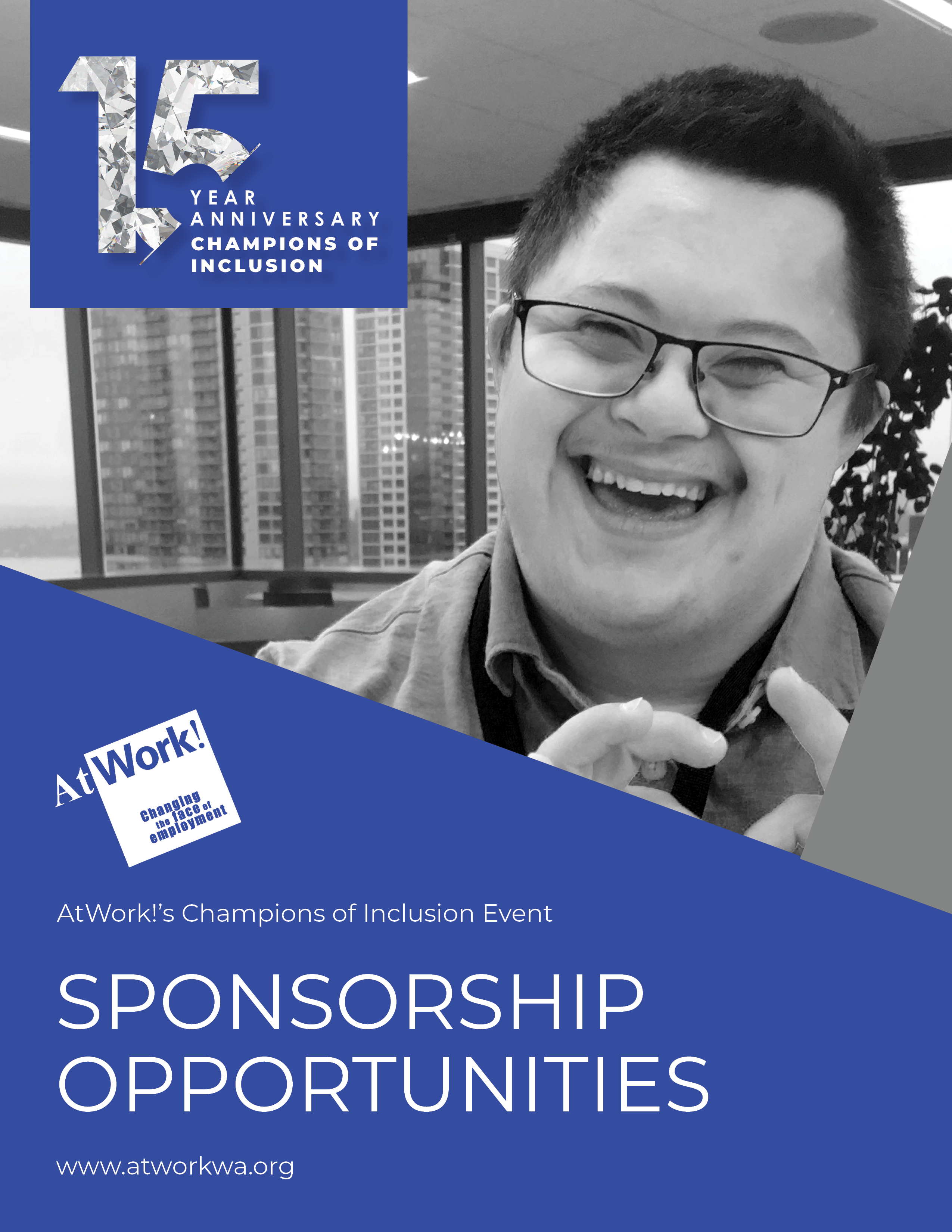 The cover of the 15th Annual Sponsorship Packet. Includes a Asian-American man smiling at the camera and a 15th anniversary emblem.